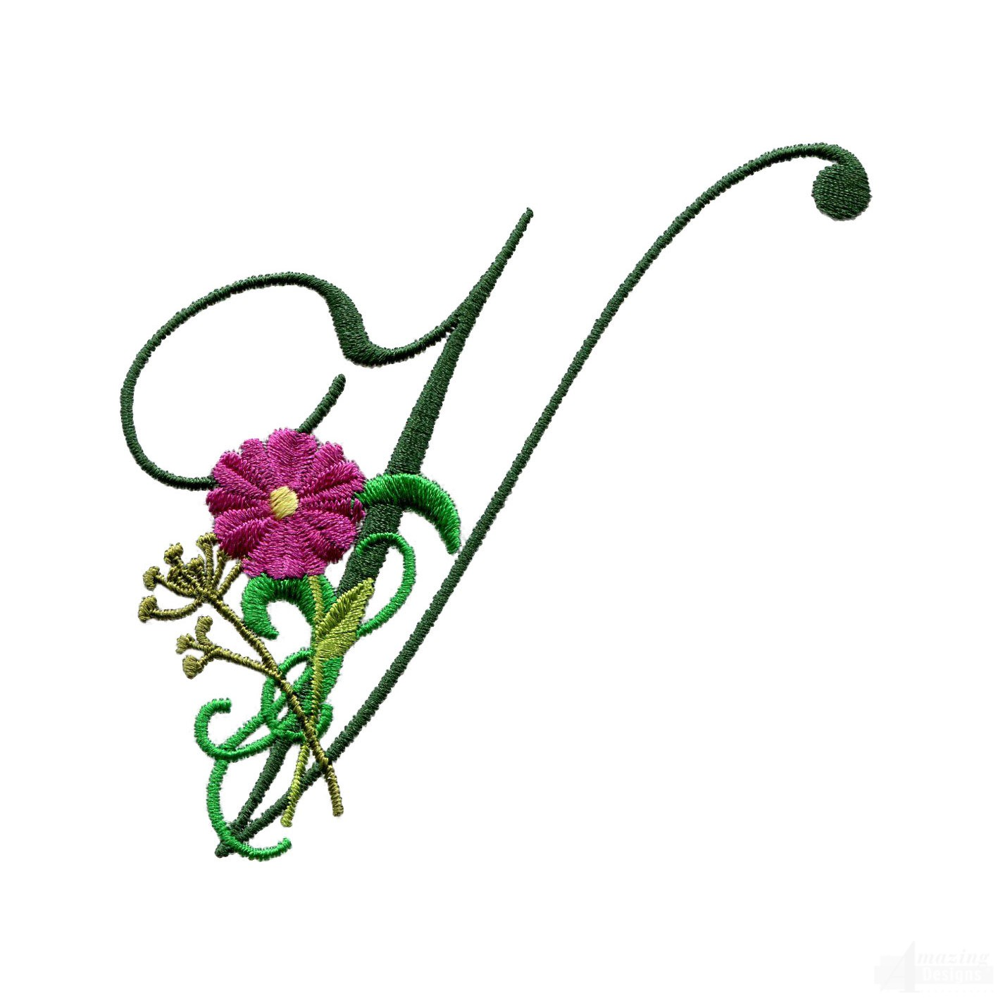 letter v floral monogram embroidery design