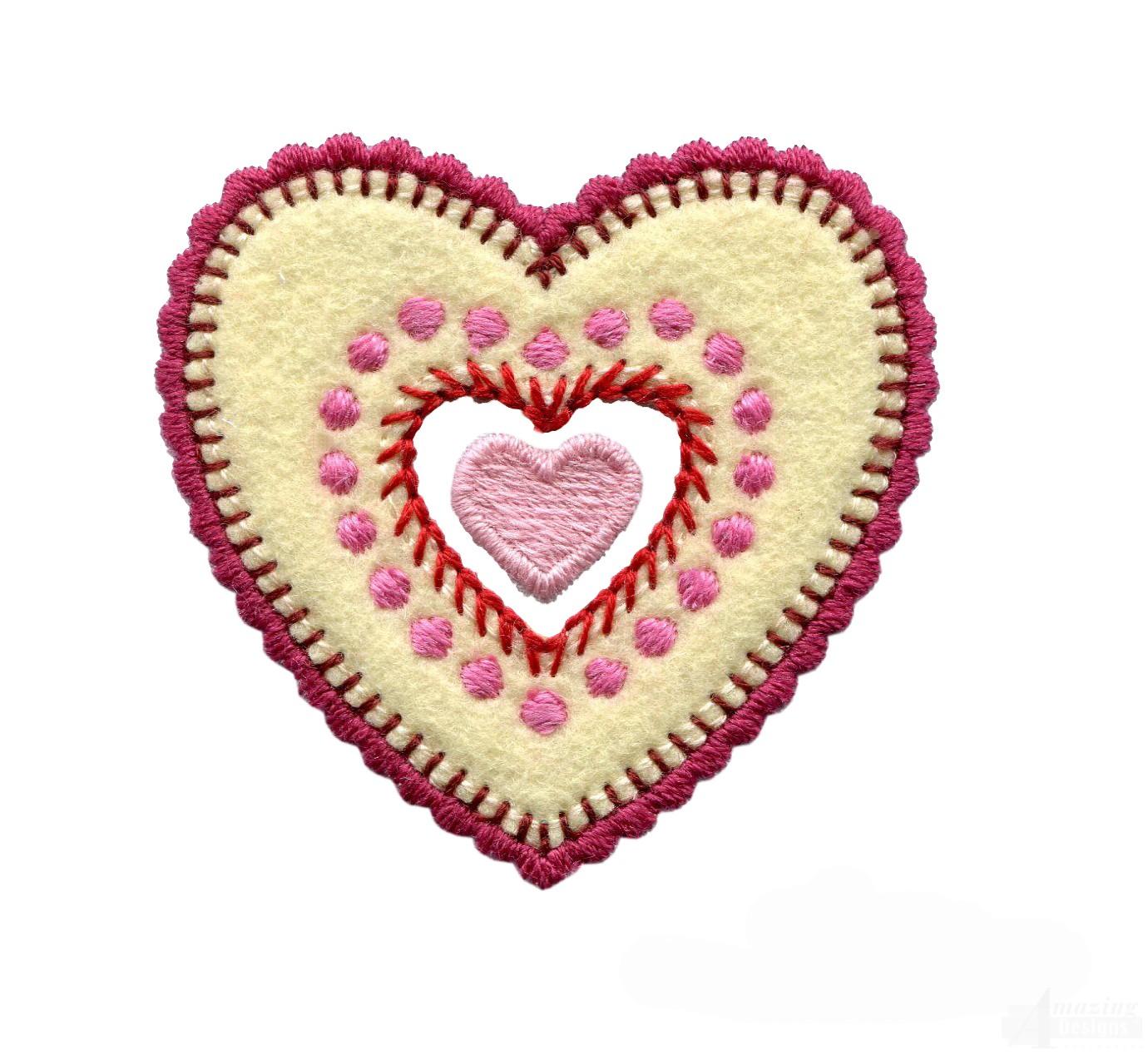 Layered hearts folk art embroidery design