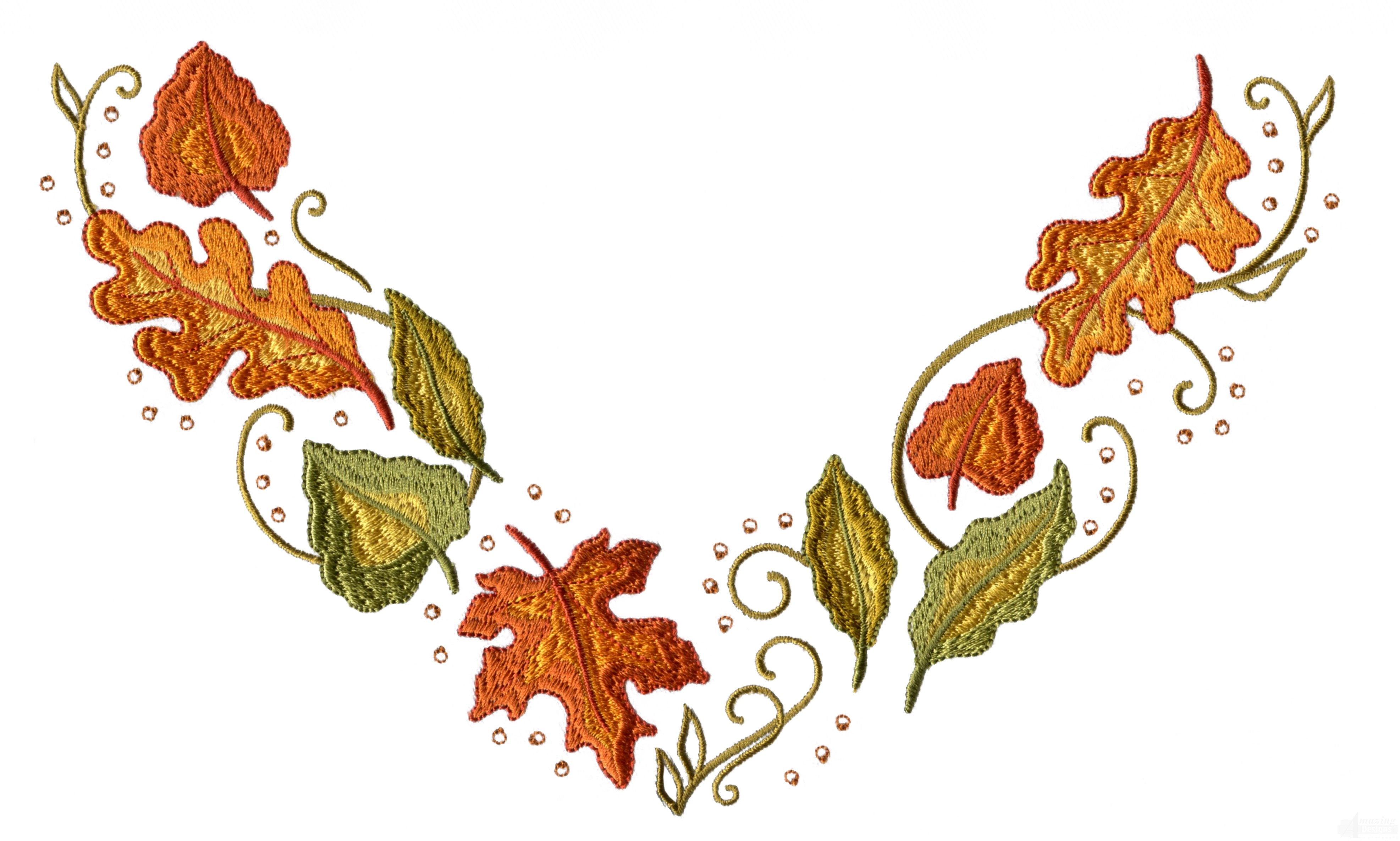 Autumn Leaves Jeweled Neckline Embroidery Design