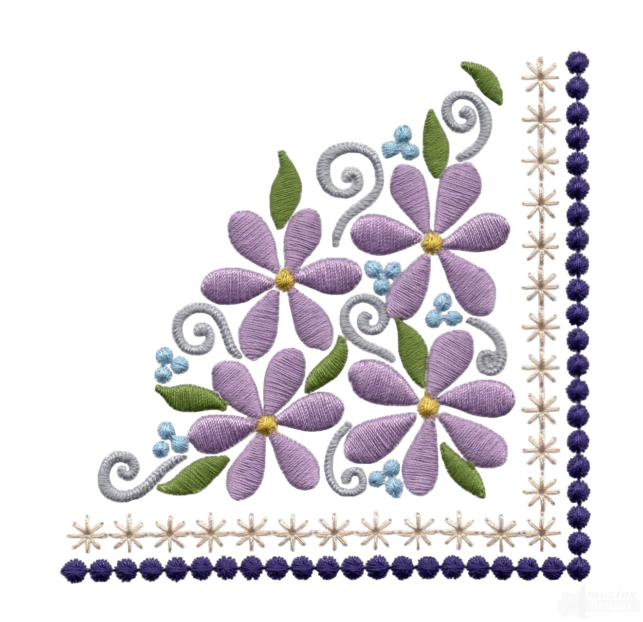 Flowering Eyelet Corner 1 Embroidery Design