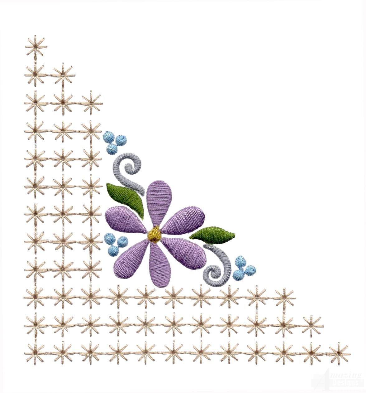 Flowering eyelet corner embroidery design