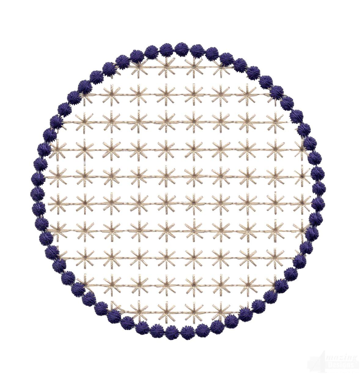 Flowering eyelet circle embroidery design