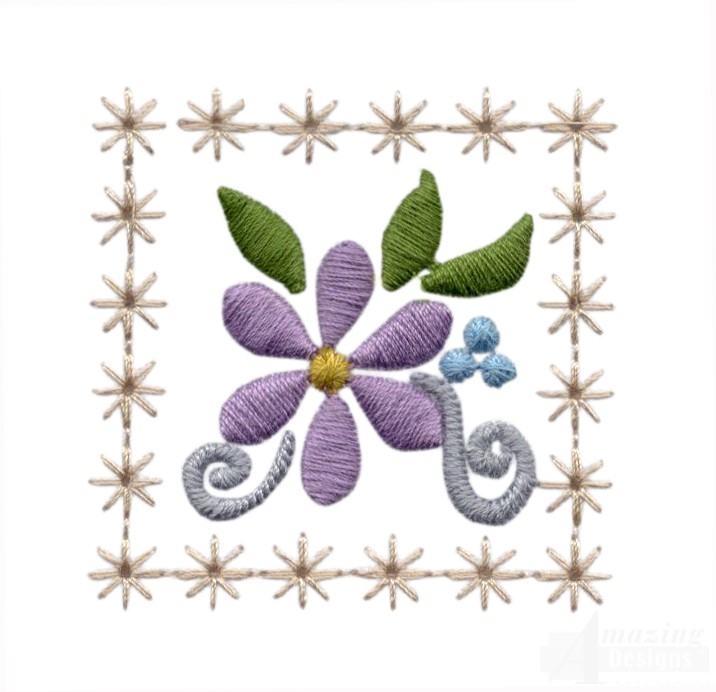 Flowering Eyelet Square Embroidery Design