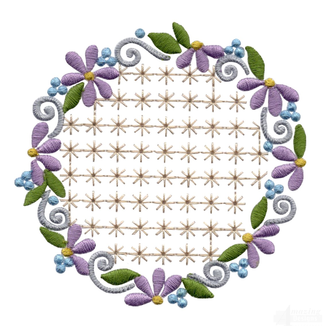 Flowering Eyelet Circle 6 Embroidery Design