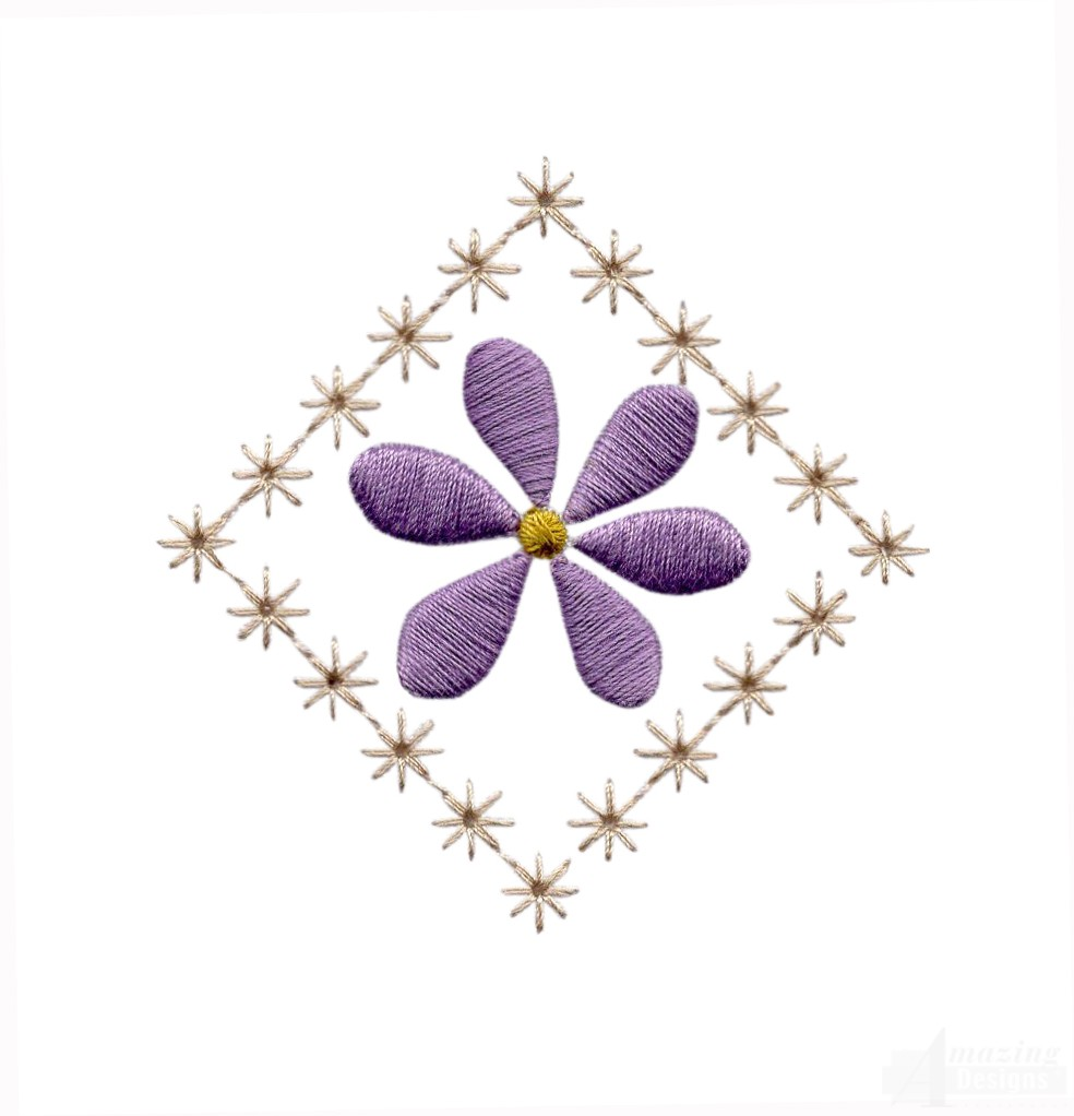 Flowering Eyelet Small Diamond Embroidery Design