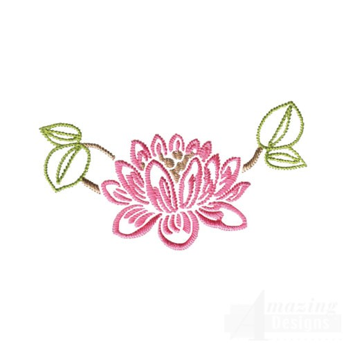 Pink Flower Outline Embroidery Designs