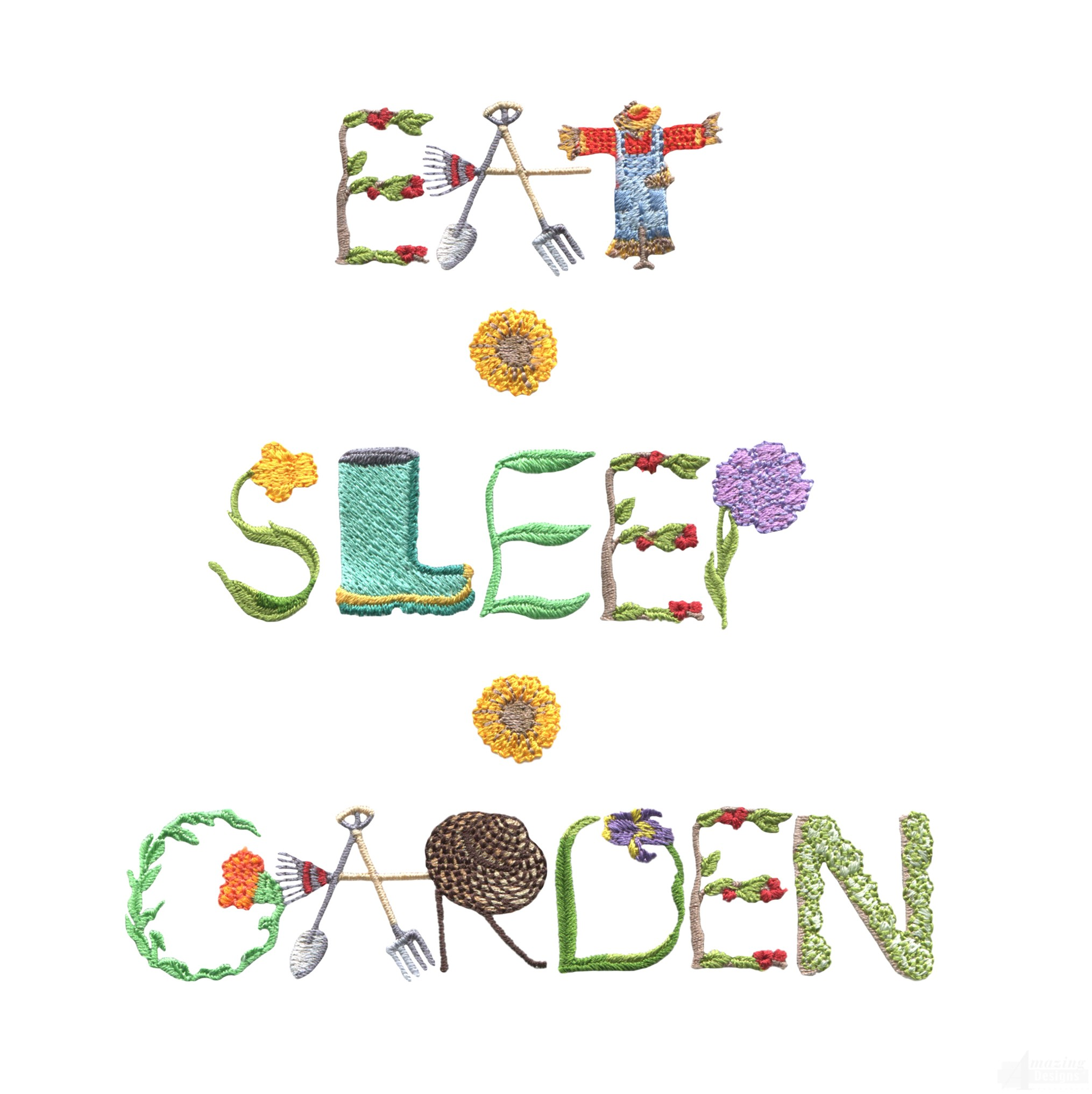 Eat sleep garden embroidery design for Garden embroidery designs free