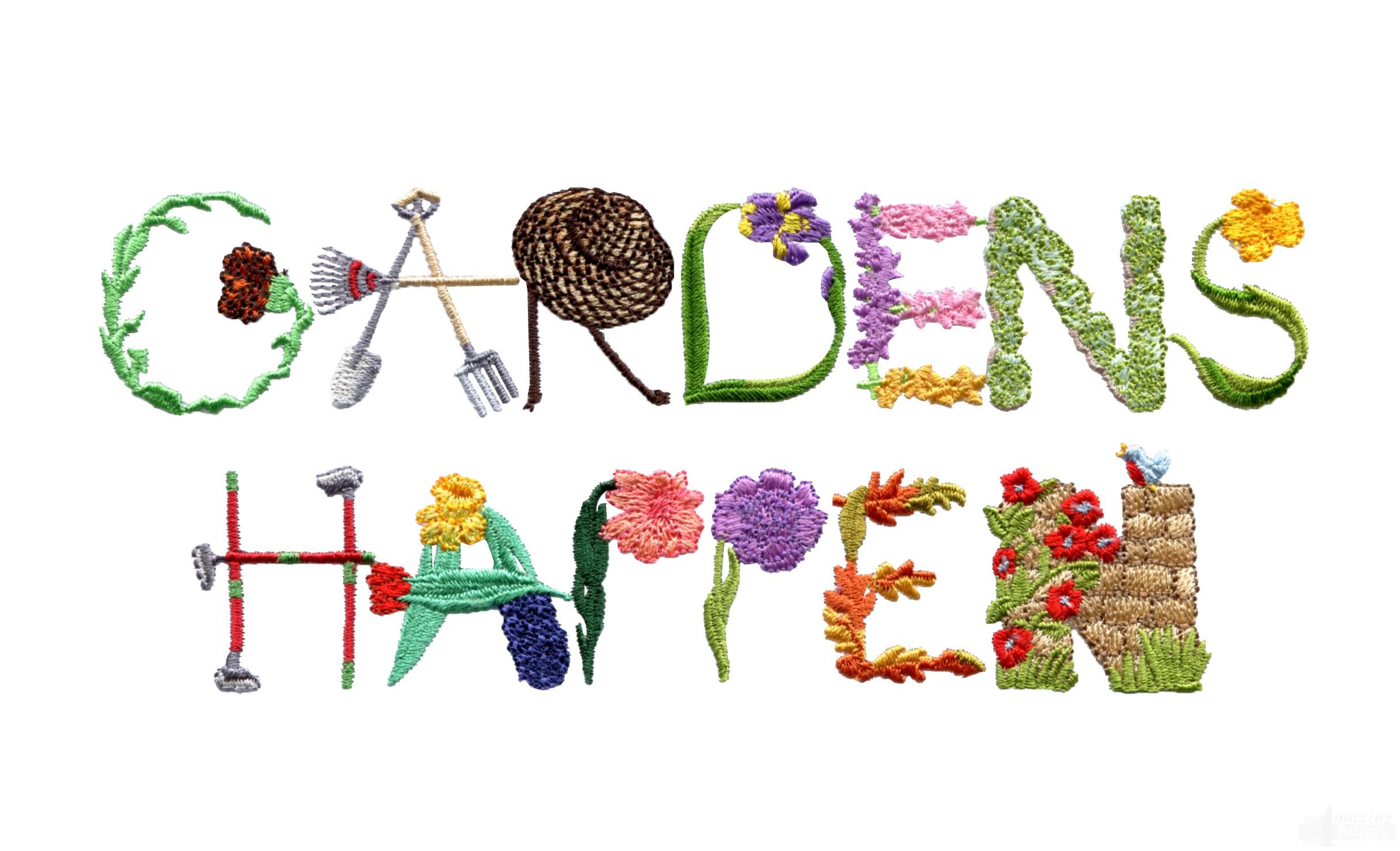 Gardens happen embroidery design for Garden embroidery designs