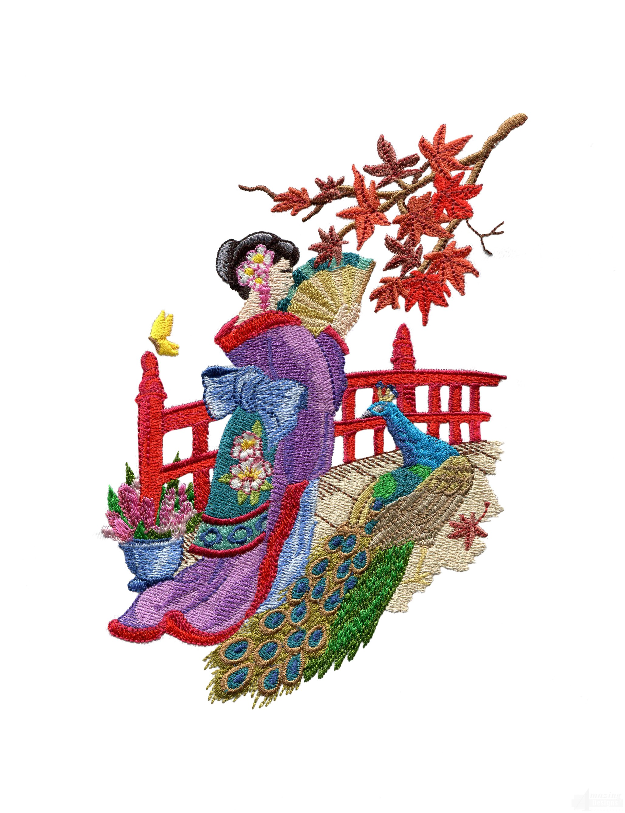 Swngg104 a geishas garden embroidery design for Garden embroidery designs free