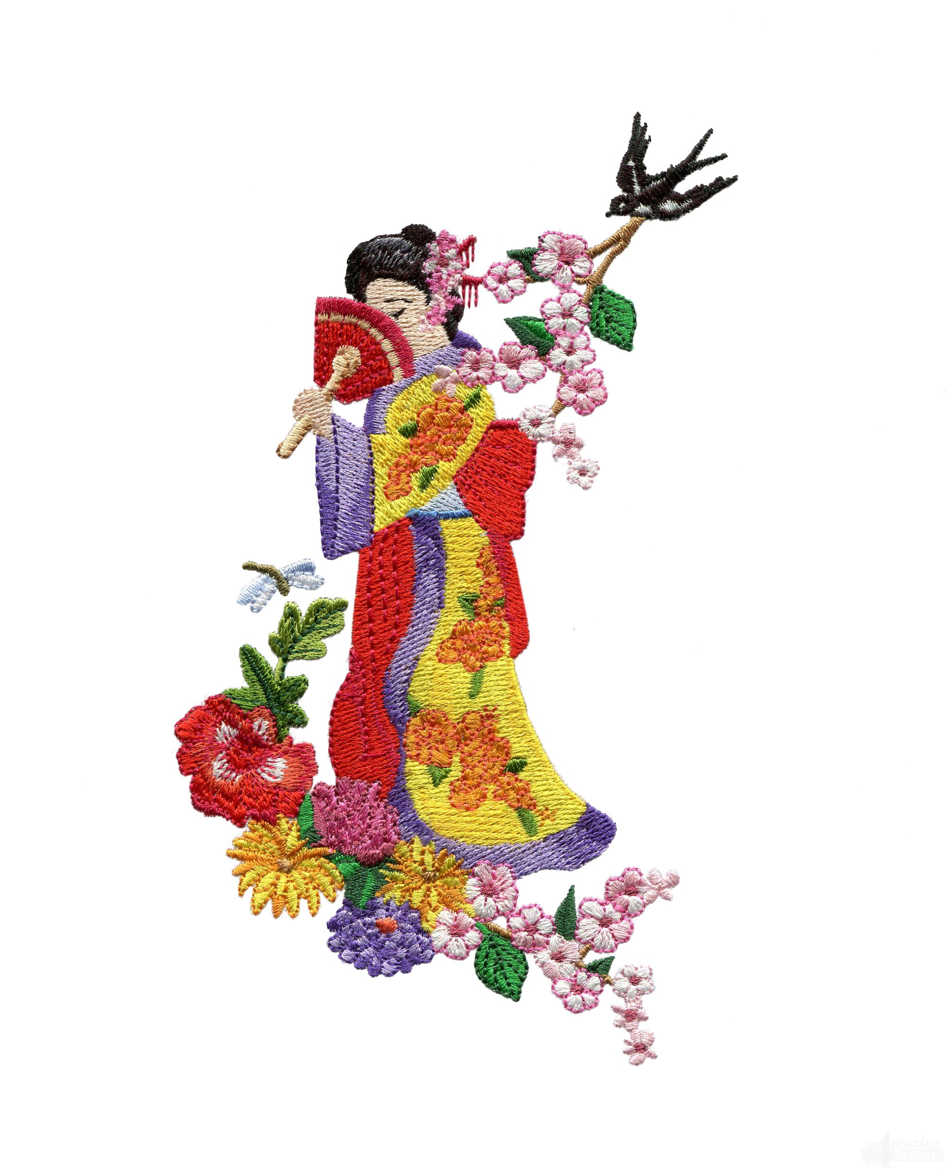 Swngg105 a geishas garden embroidery design for Garden embroidery designs free