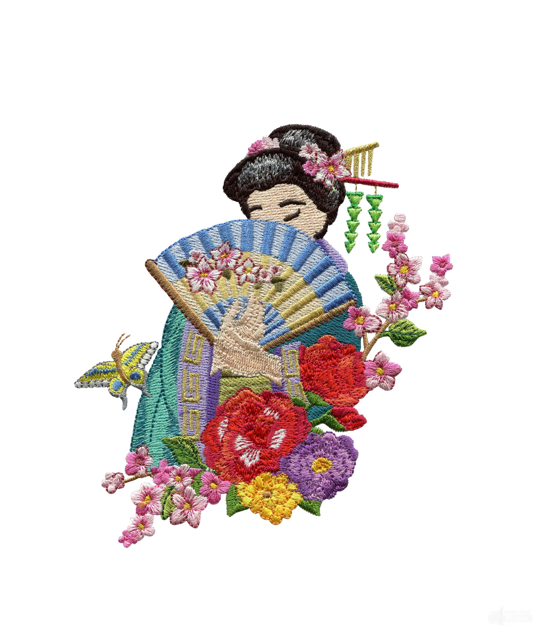 Swngg107 a geishas garden embroidery design for Garden embroidery designs free