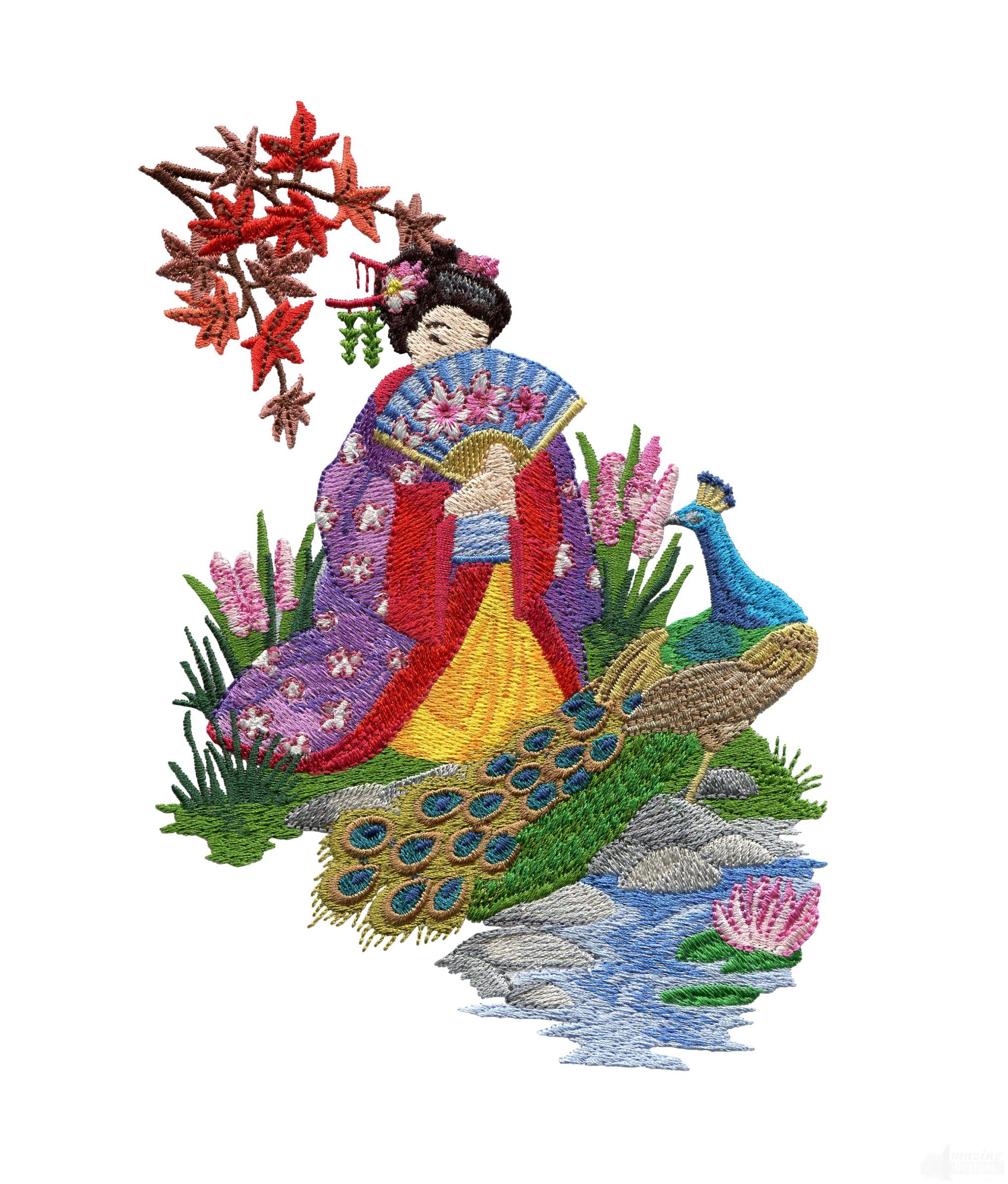 Swngg108 a geishas garden embroidery design for Garden embroidery designs