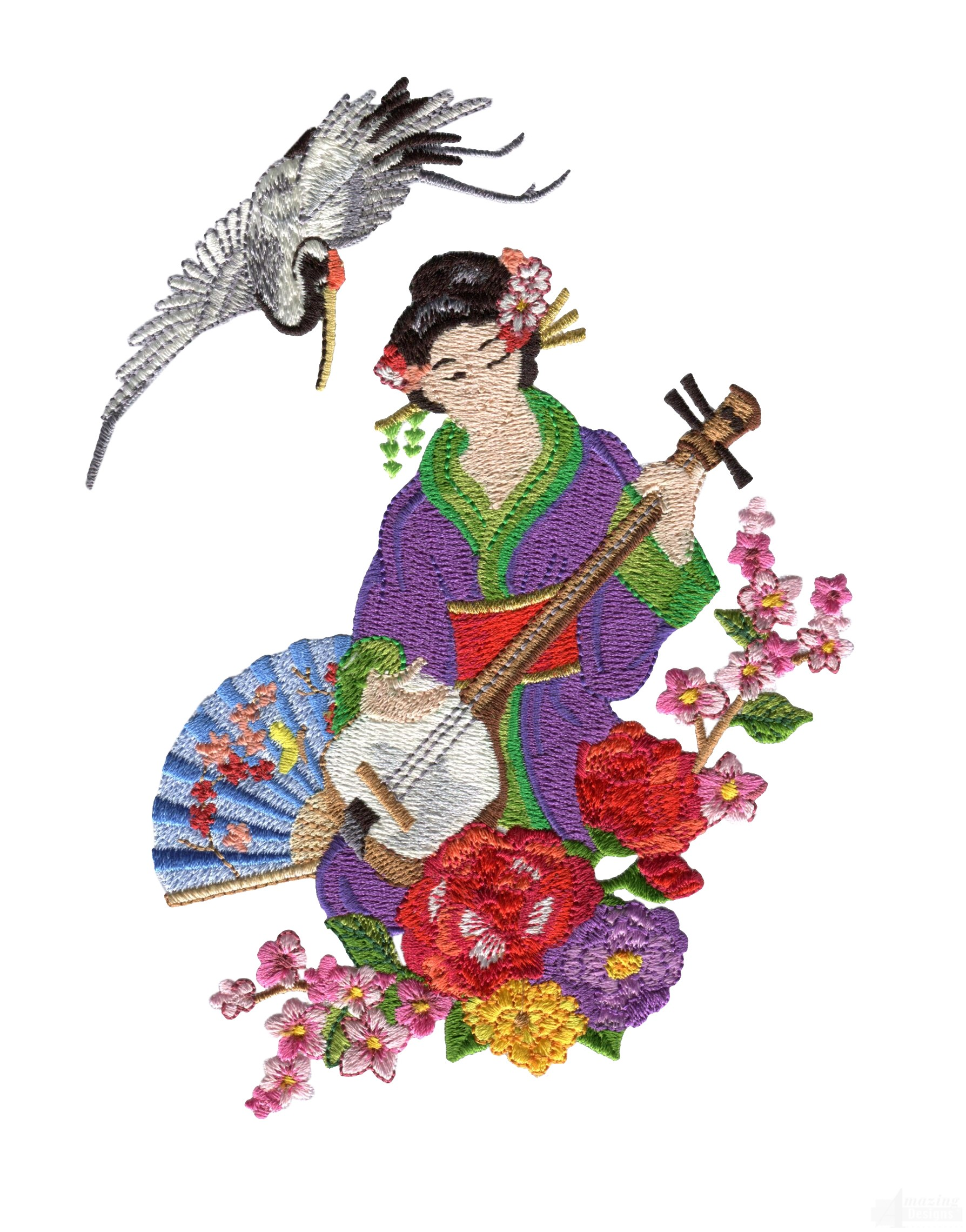 Swngg109 a geishas garden embroidery design for Garden embroidery designs free