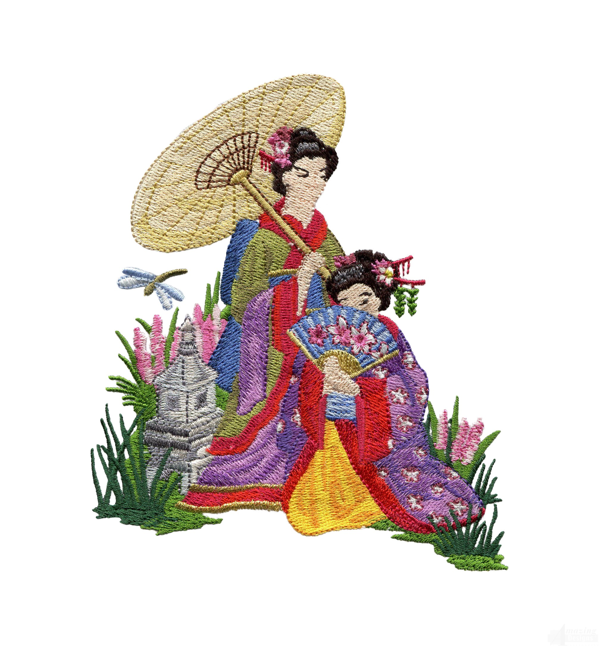 Swngg112 a geishas garden embroidery design for Garden embroidery designs free