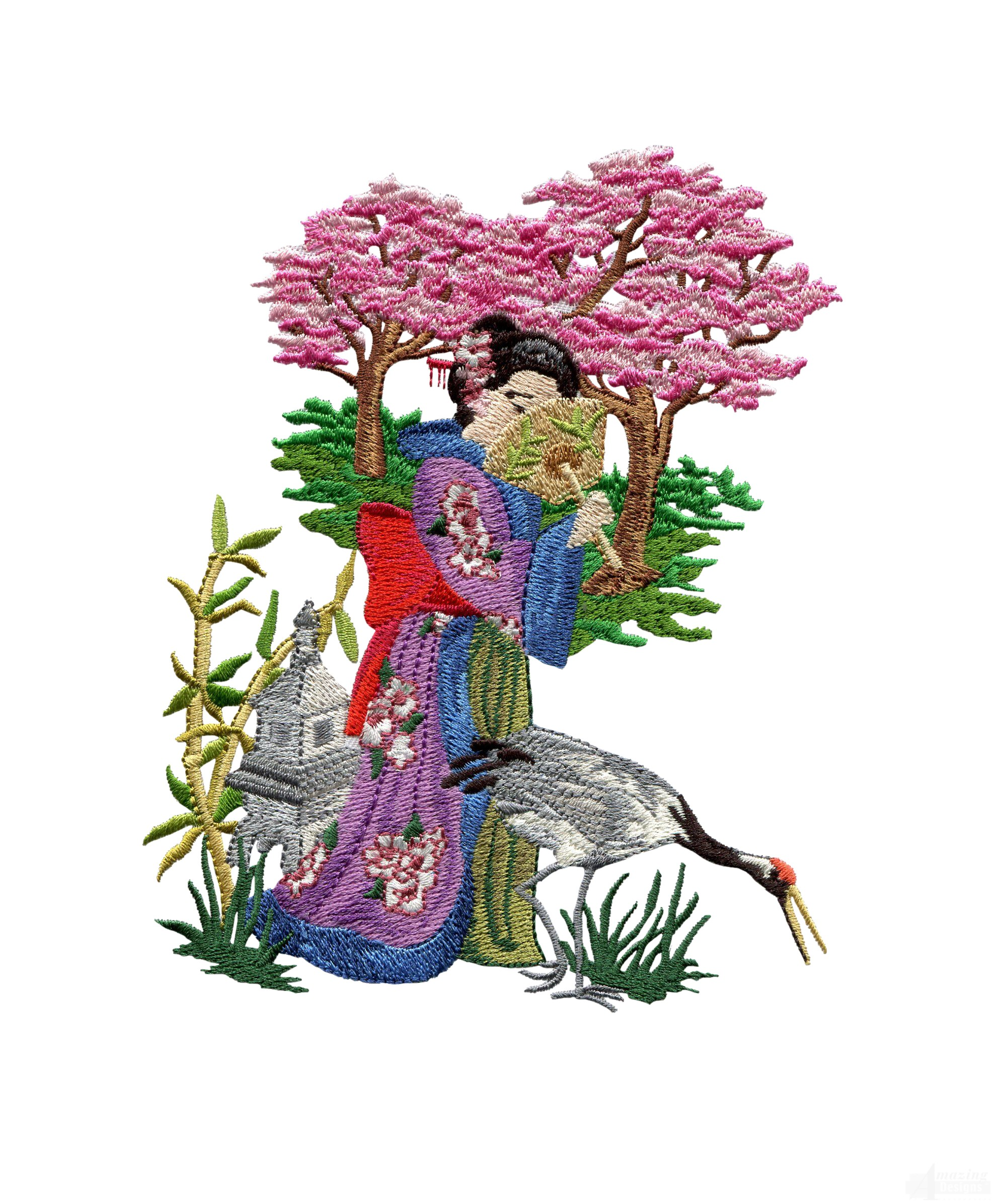 Swngg113 a geishas garden embroidery design for Garden embroidery designs free