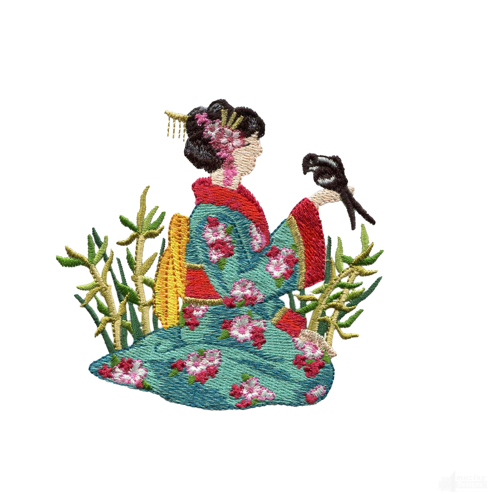 Swngg120 a geishas garden embroidery design for Garden embroidery designs free