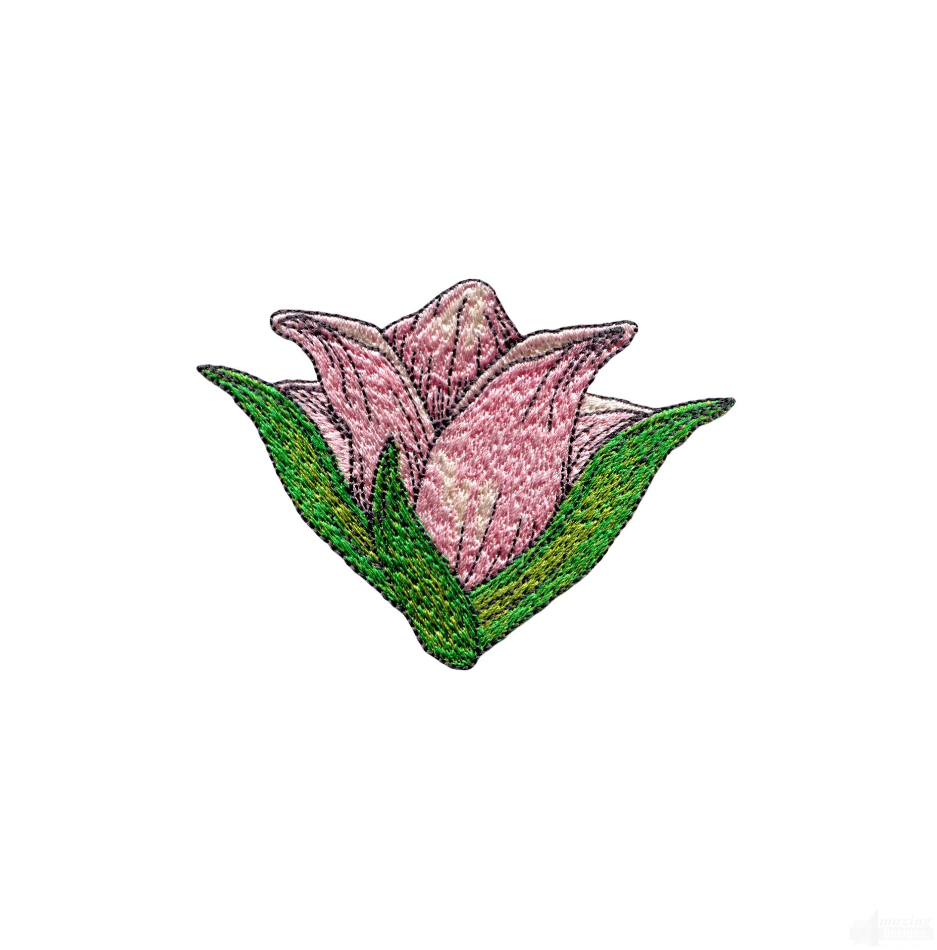 Large pink flower embroidery design