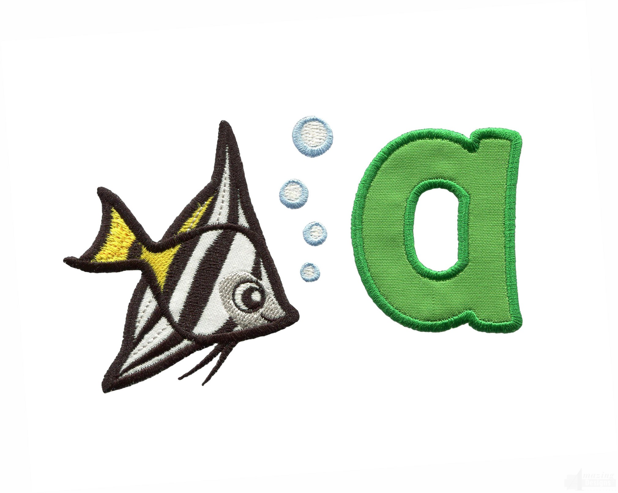 Applique a angelfish embroidery design