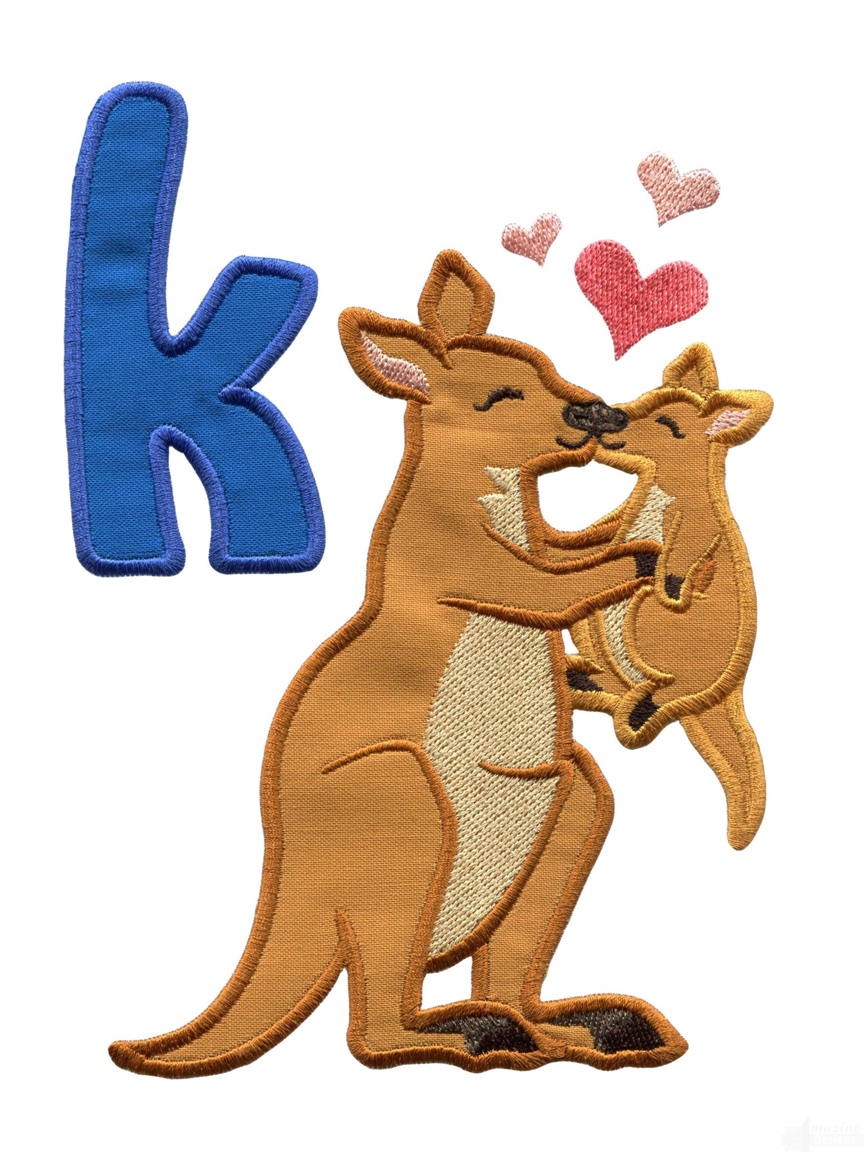 applique k kangaroo kiss embroidery design