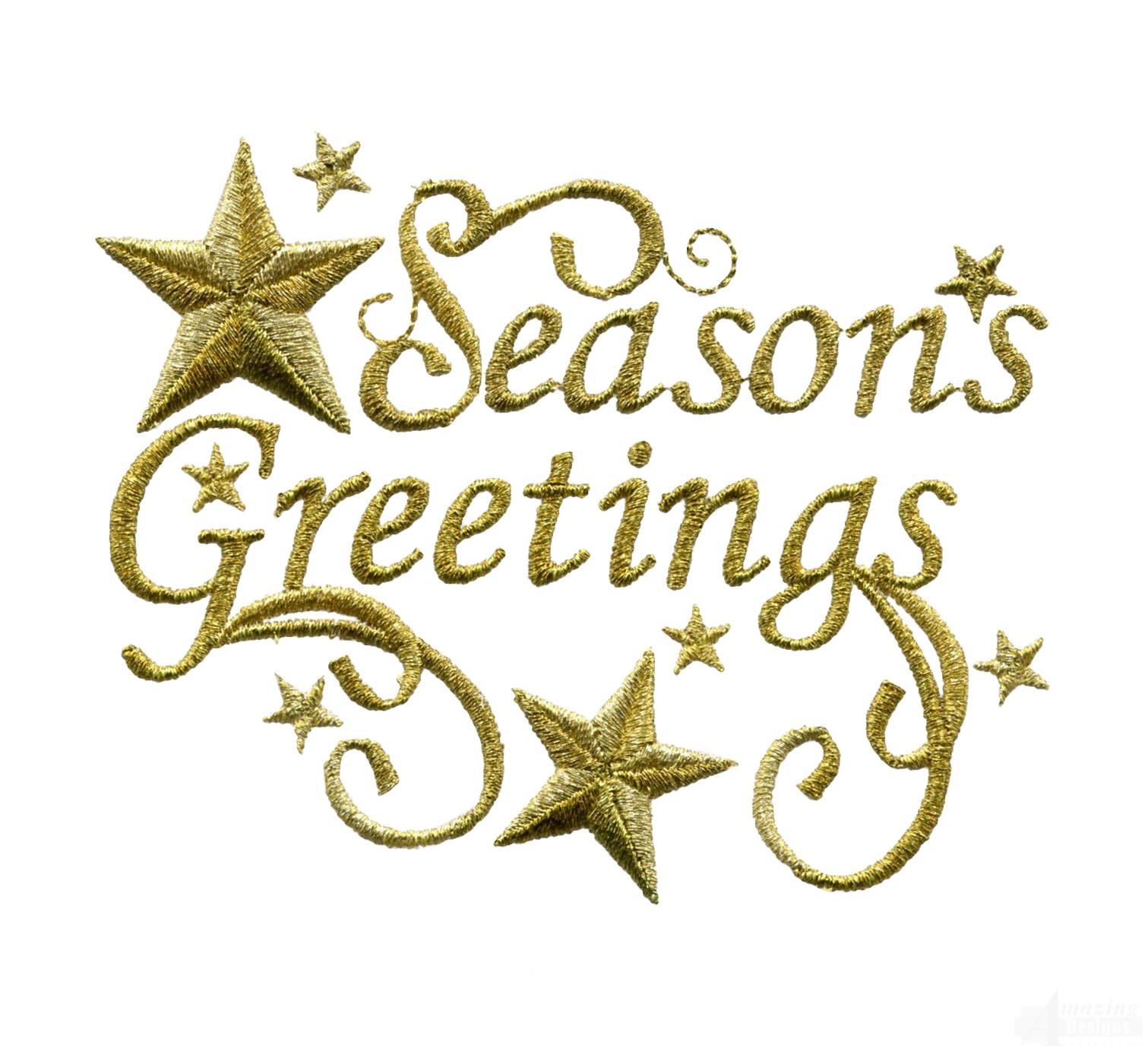 Metallic gold seasons greetings embroidery design m4hsunfo