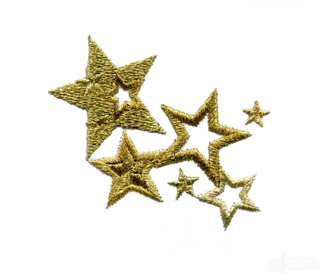 Metallic gold shimmering star embroidery design