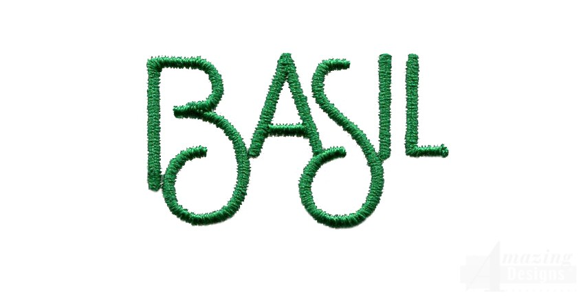basil leaves word embroidery design