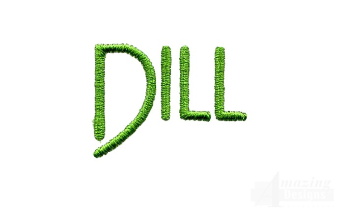 Dill word embroidery design