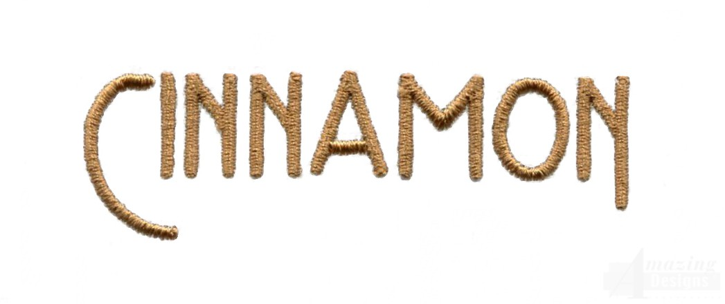 Cinnamon word embroidery design
