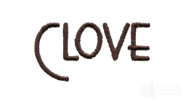 Clove word embroidery design