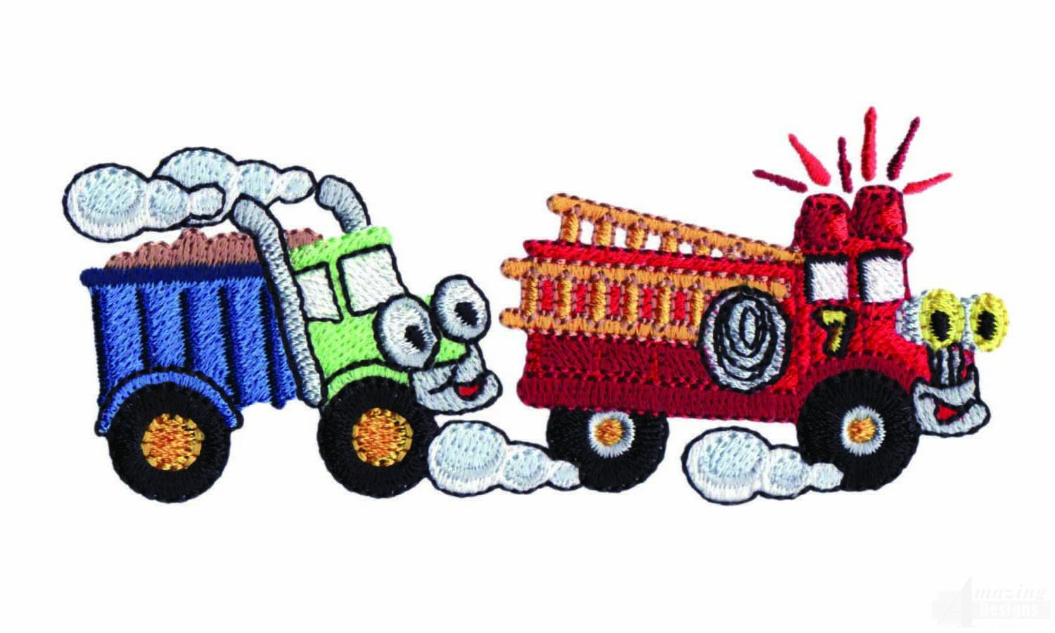 Dump And Fire Truck Embroidery Design