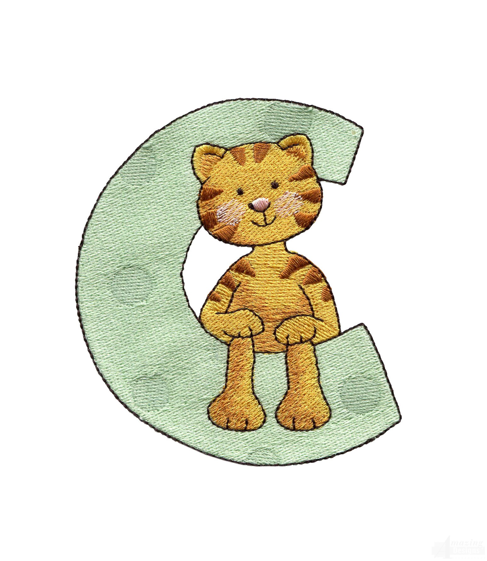 Letter c cat embroidery design for Embroidery office design version 7 5
