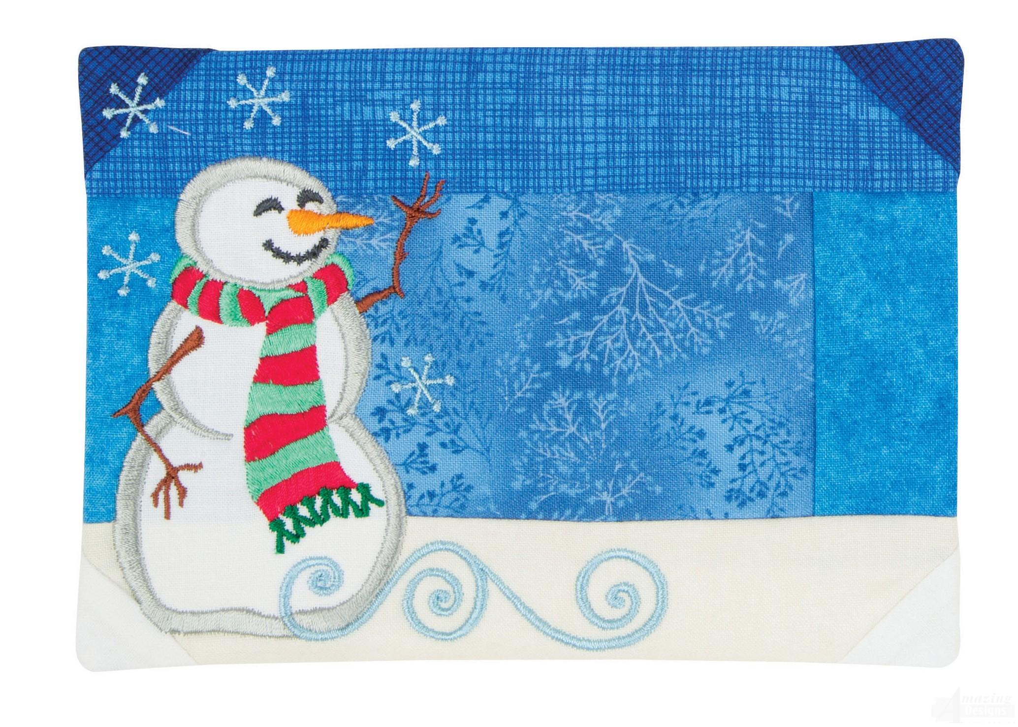 Pieced mug rug and snowman embroidery design