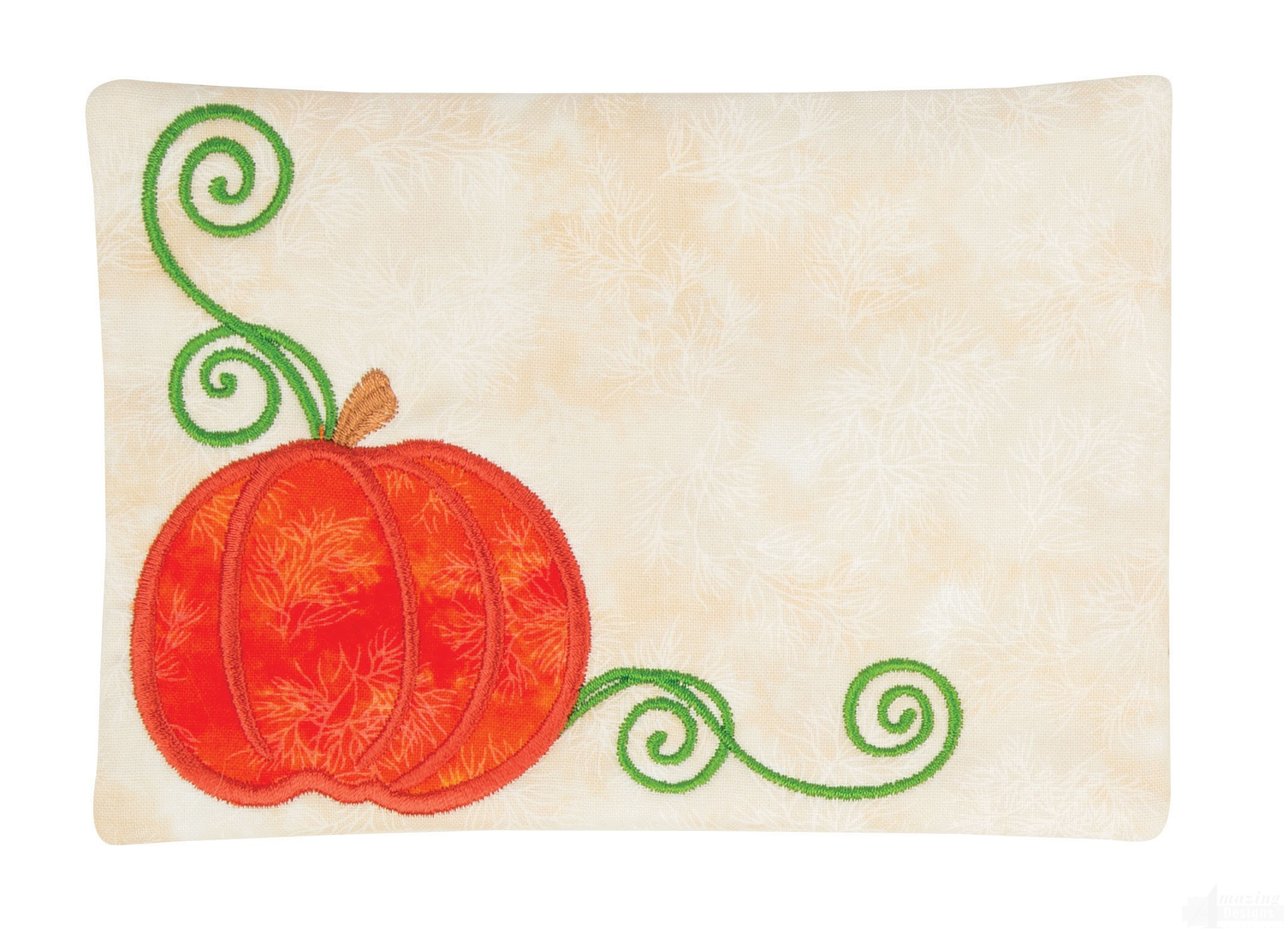 Pumpkin applique mug rug embroidery design