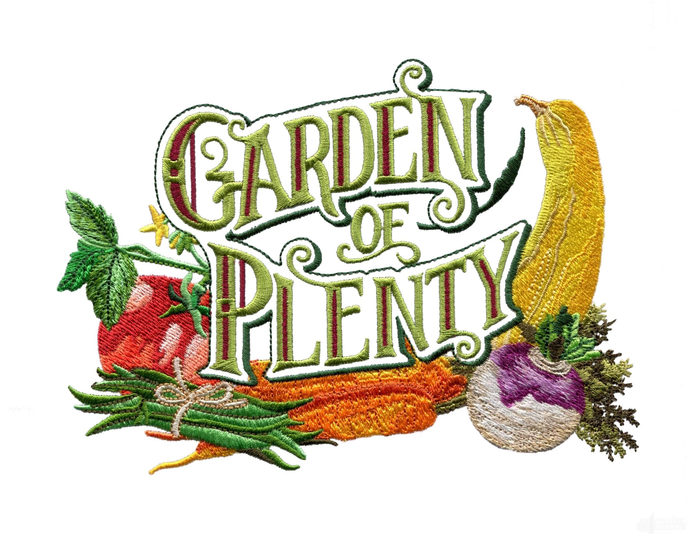 Garden of plenty embroidery design for Garden embroidery designs