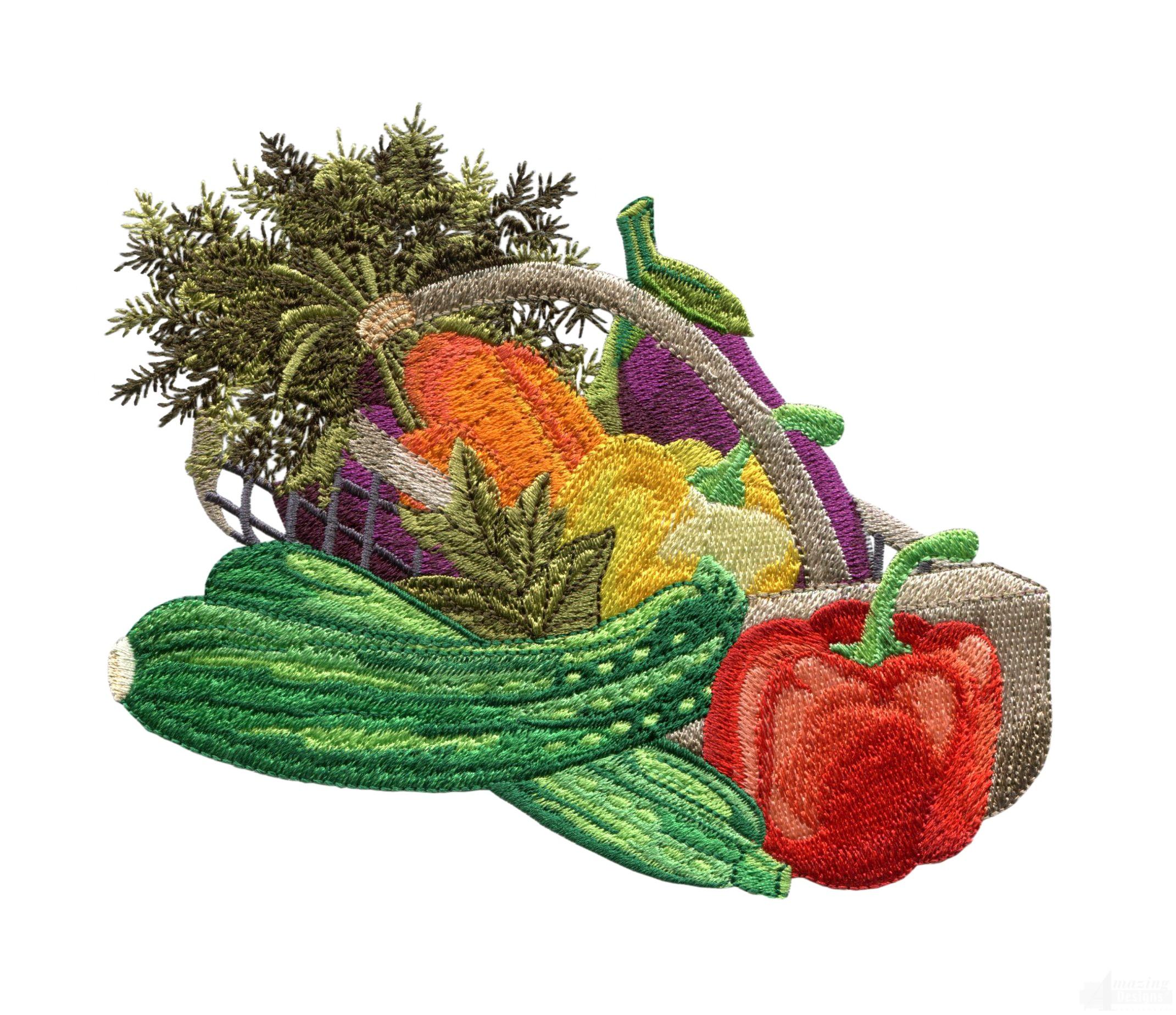 basket of vegetables embroidery design