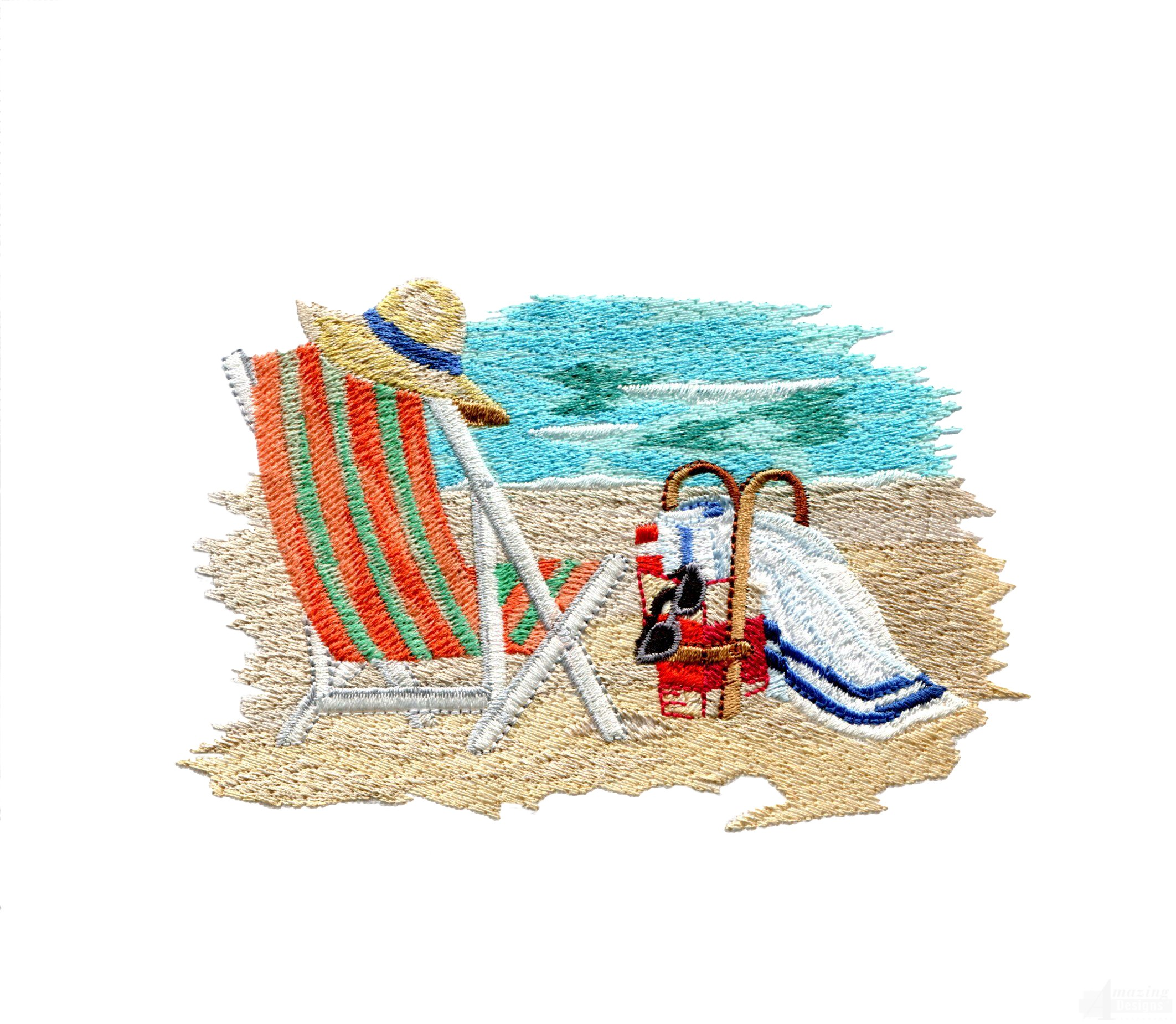 Beach chair embroidery design for Beach house embroidery design