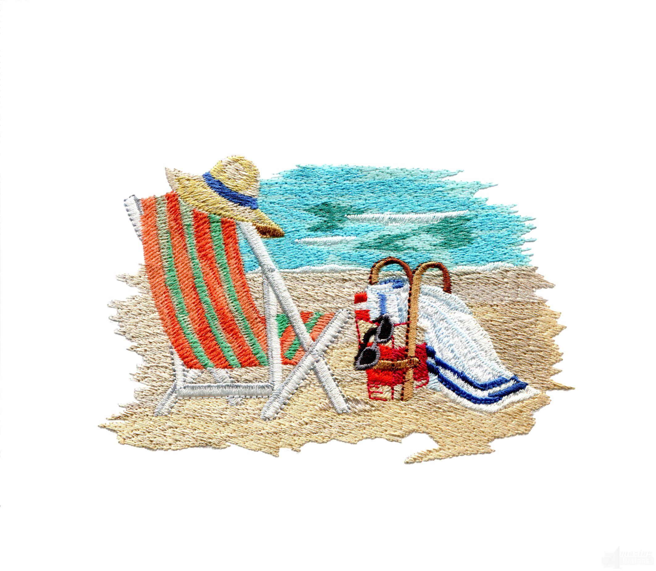 Beach chair embroidery design for Beach house embroidery design