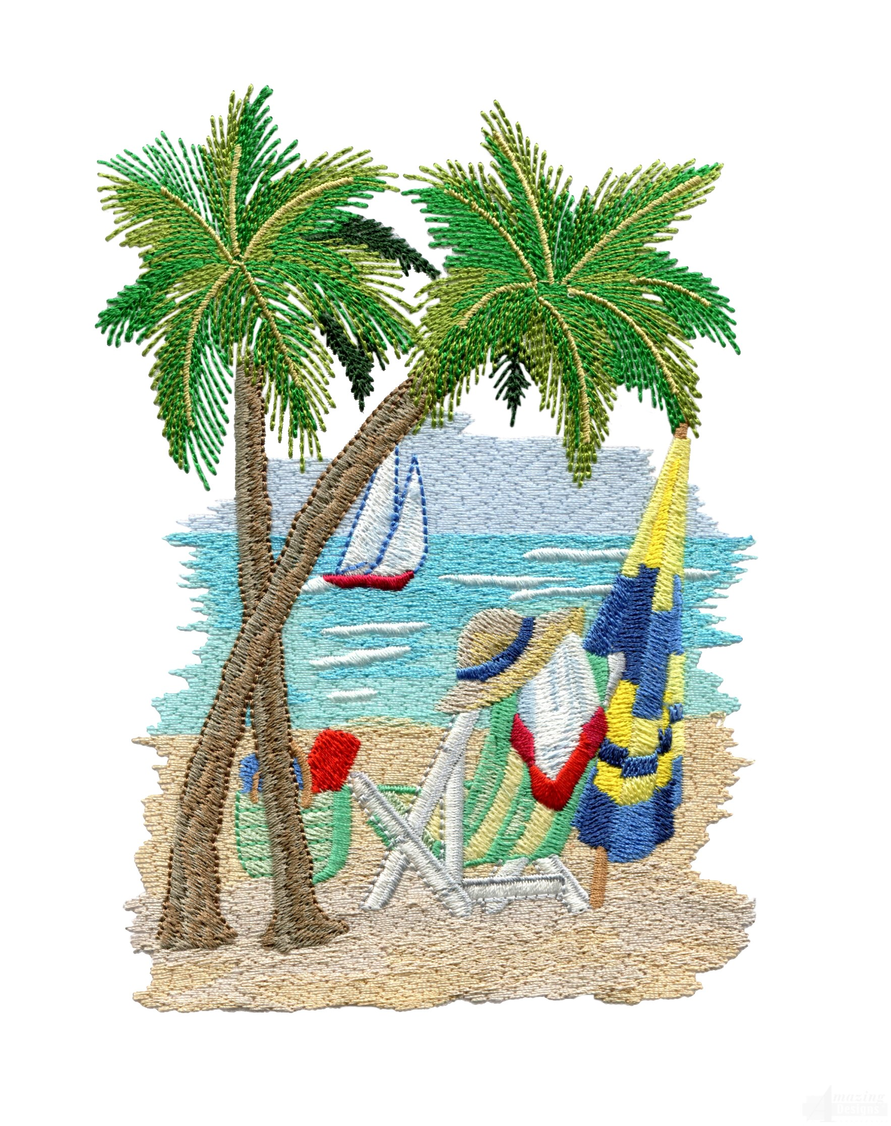 Beach scene embroidery design for Beach design