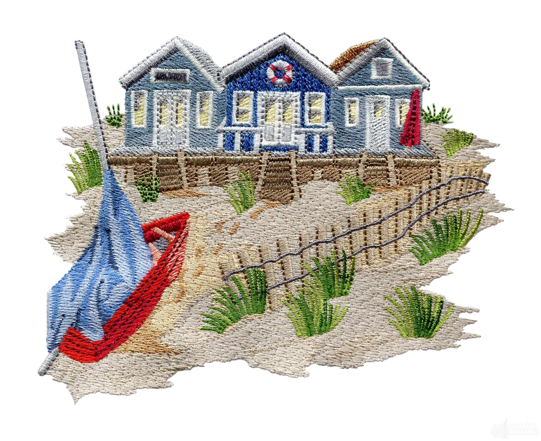 Swnse220 beach huts embroidery design