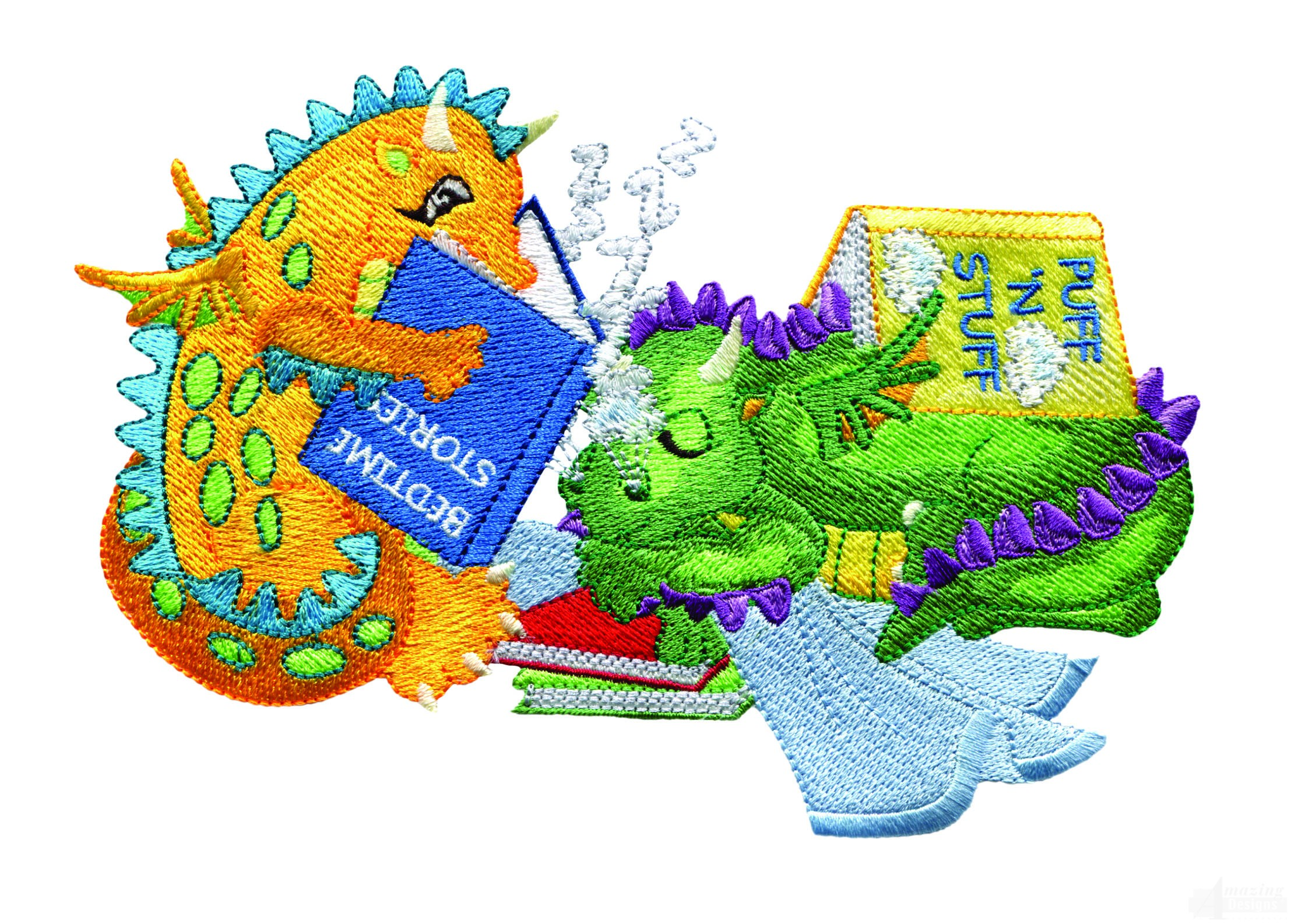 reading and napping dragons embroidery design