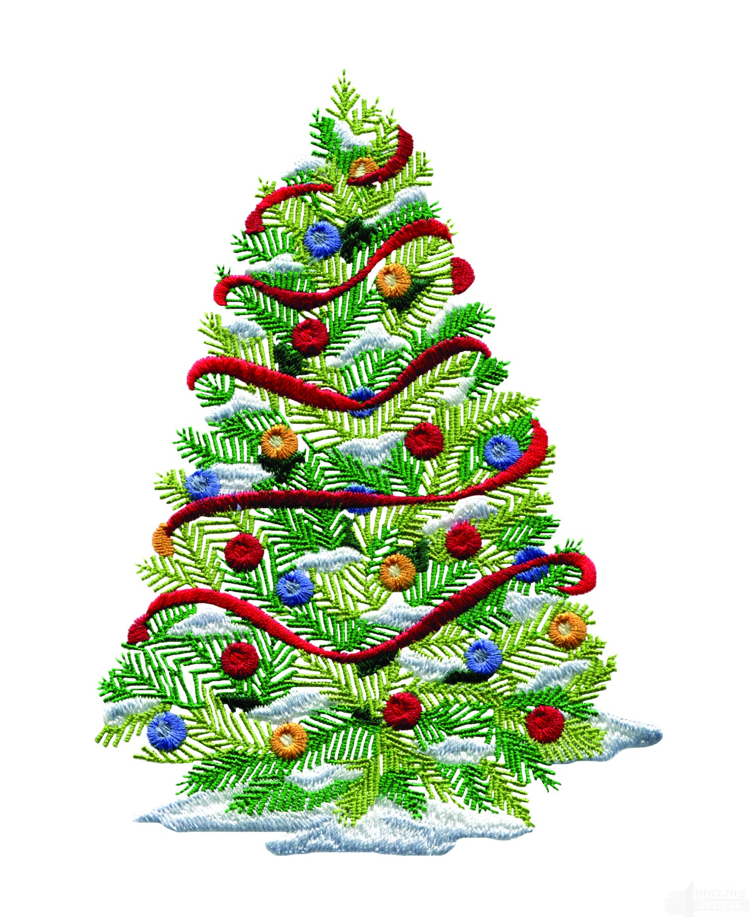 Decorated christmas tree embroidery design for Small designer christmas trees