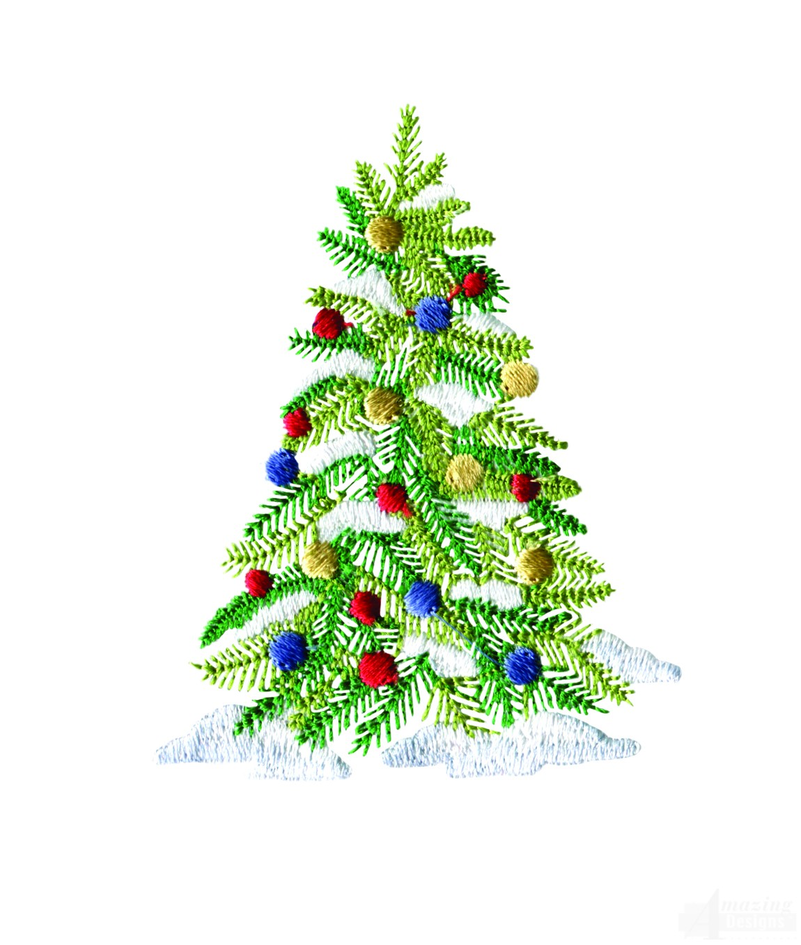 Decorated christmas tree embroidery design