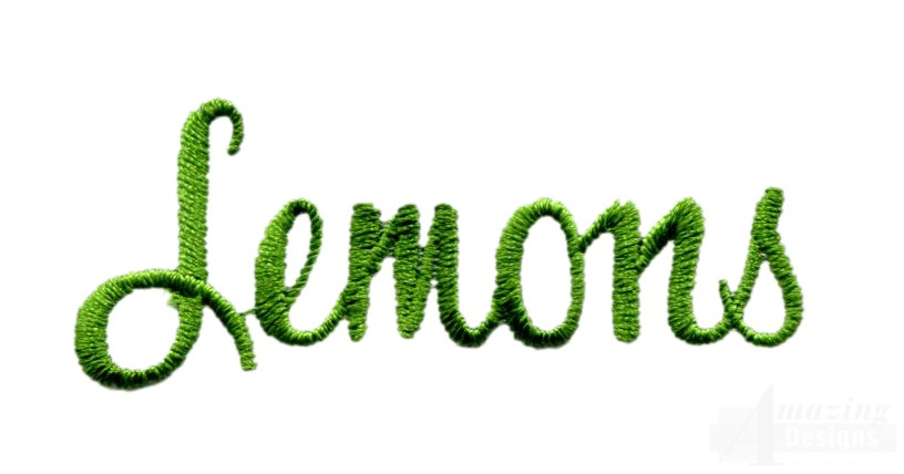 Lemons Word Embroidery Design