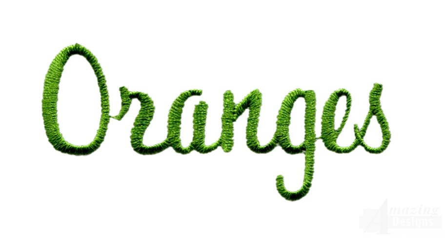 Oranges word embroidery design