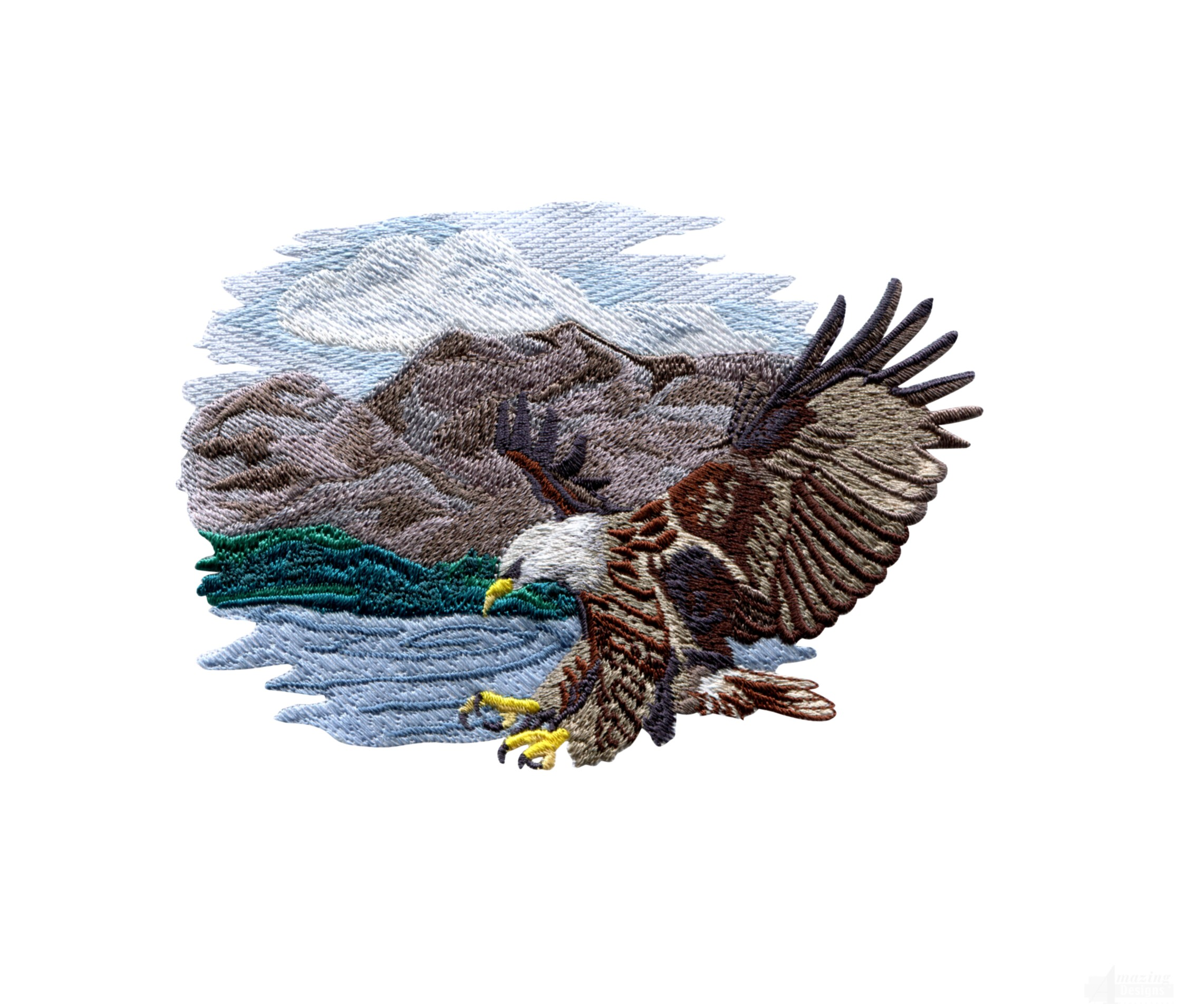 Striking Eagle Scene Embroidery Design