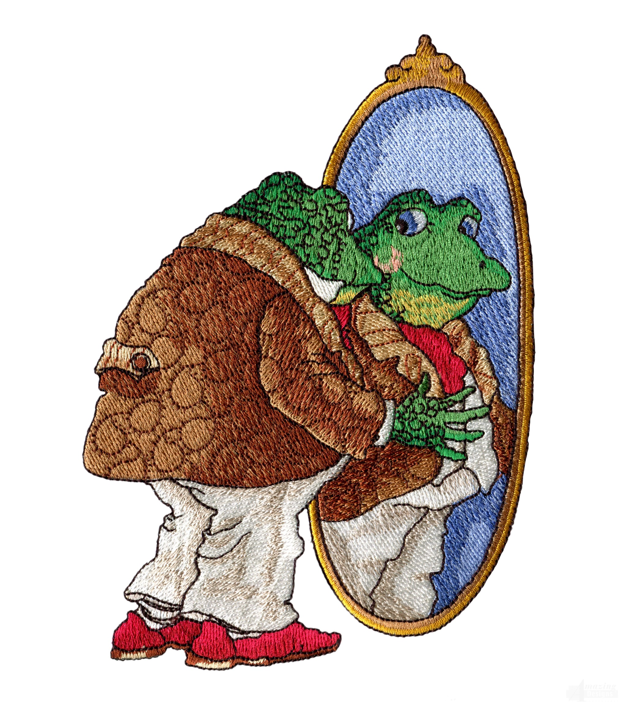 Frog in mirror embroidery design