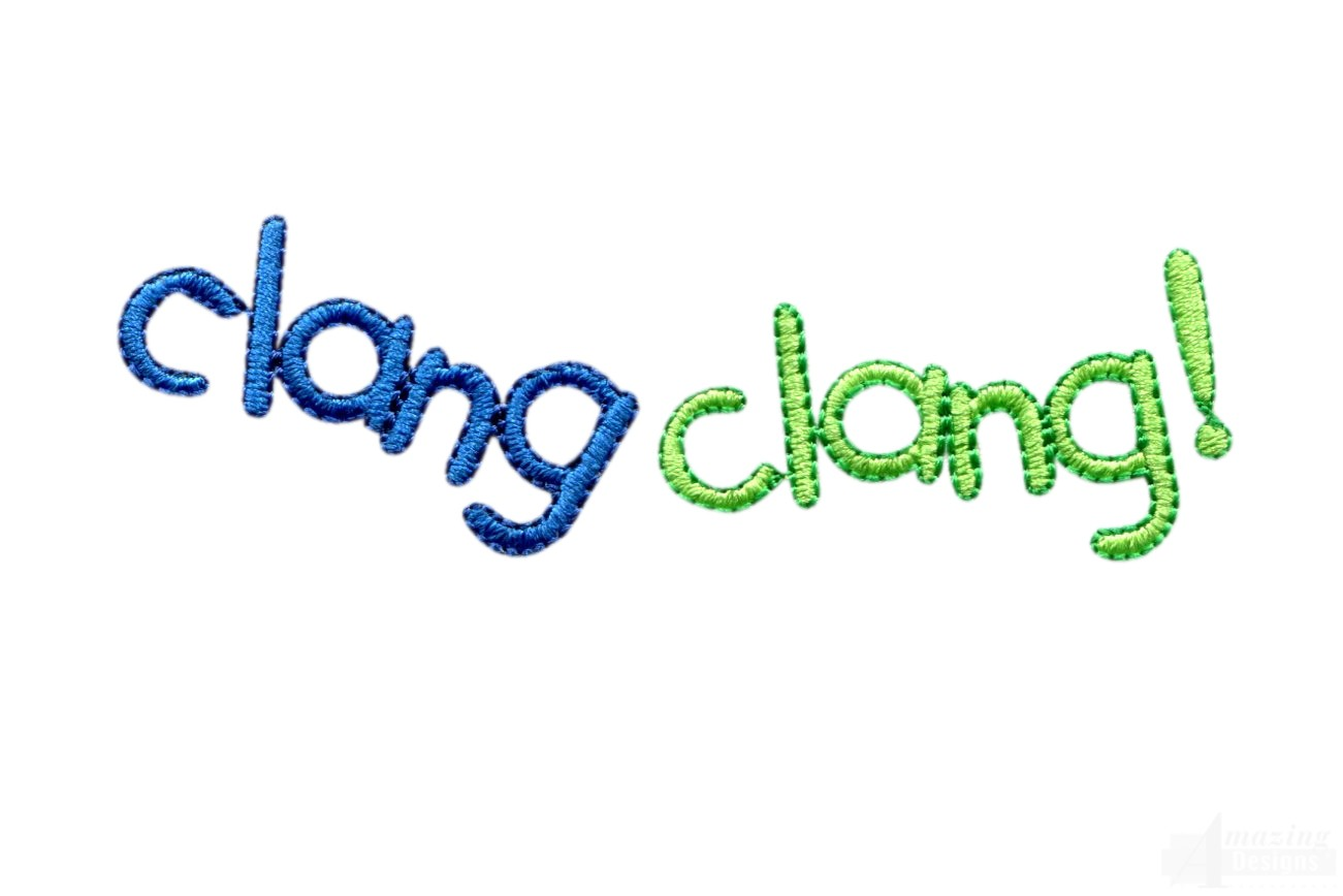 Clang words embroidery design