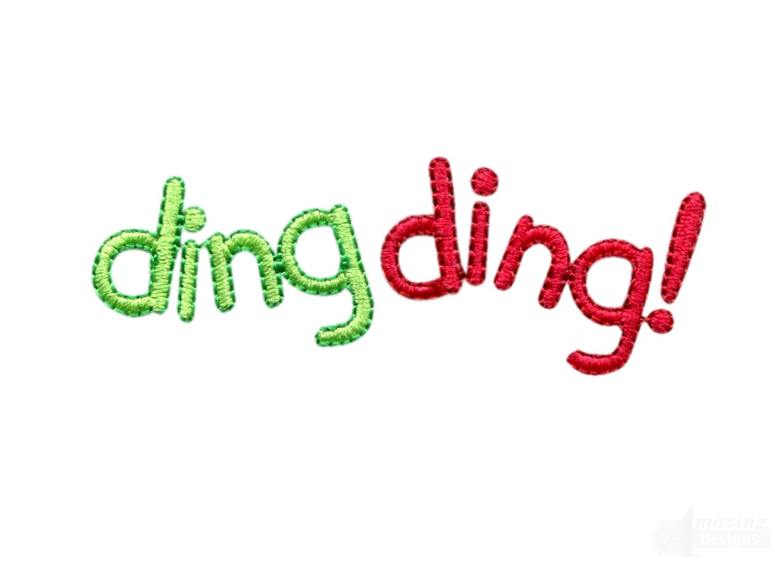 Ding words embroidery design