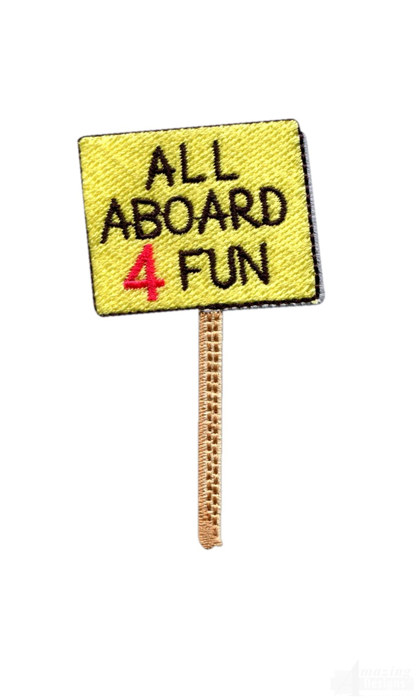all aboard sign embroidery design