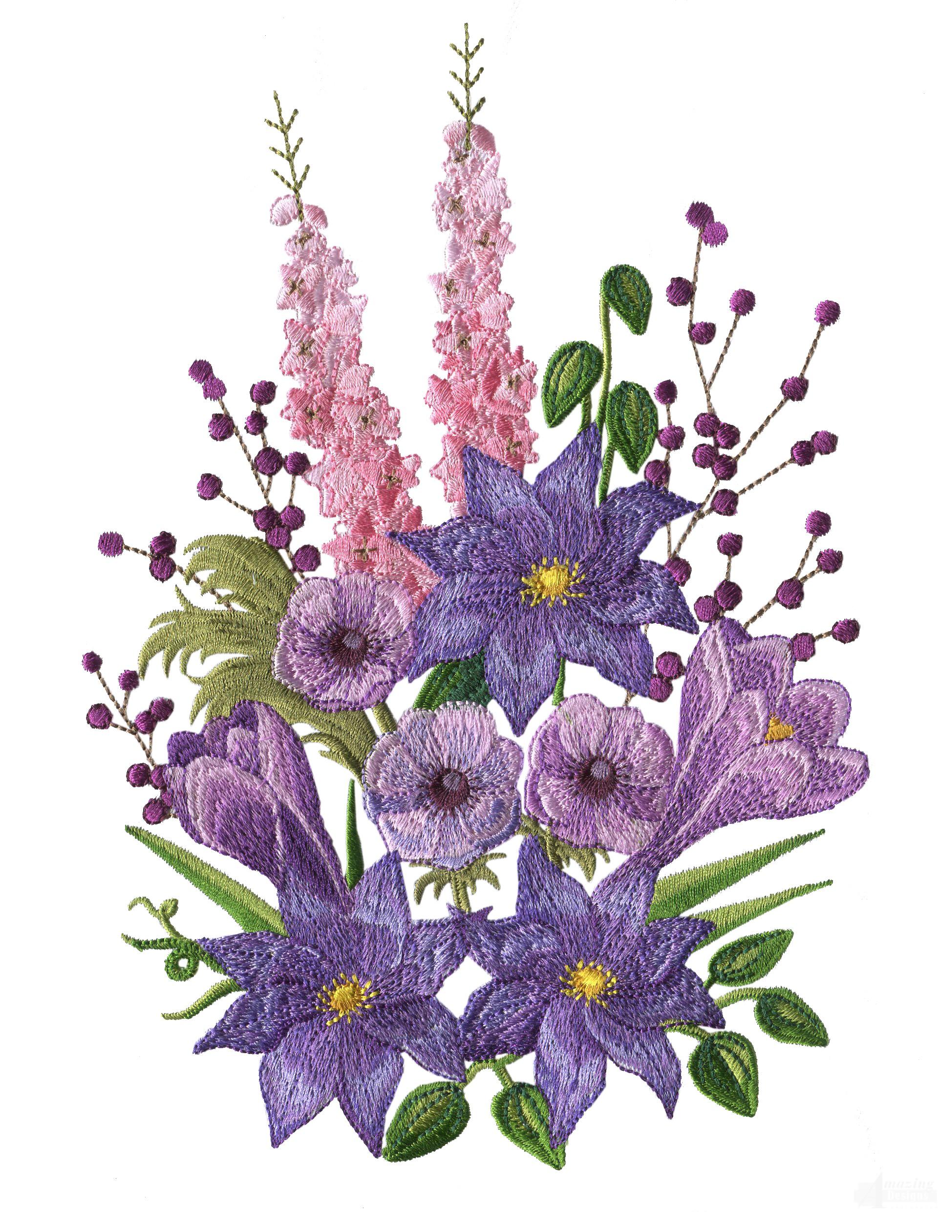 Swnfl flourishing flowers embroidery design